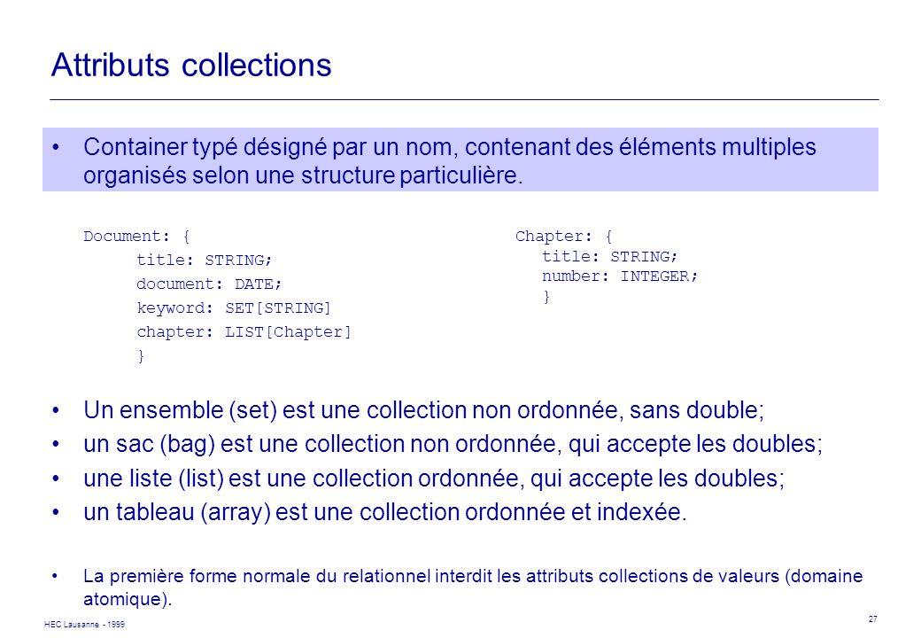 HEC Lausanne - 1999 27 Attributs collections Container typé désigné par un nom, contenant des éléments multiples organisés selon une structure particu