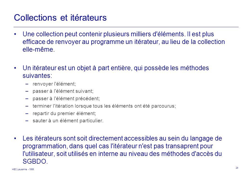 HEC Lausanne - 1999 29 Collections et itérateurs Une collection peut contenir plusieurs milliers d'éléments. Il est plus efficace de renvoyer au progr