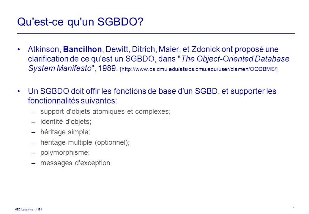 HEC Lausanne - 1999 4 Qu'est-ce qu'un SGBDO? Atkinson, Bancilhon, Dewitt, Ditrich, Maier, et Zdonick ont proposé une clarification de ce qu'est un SGB