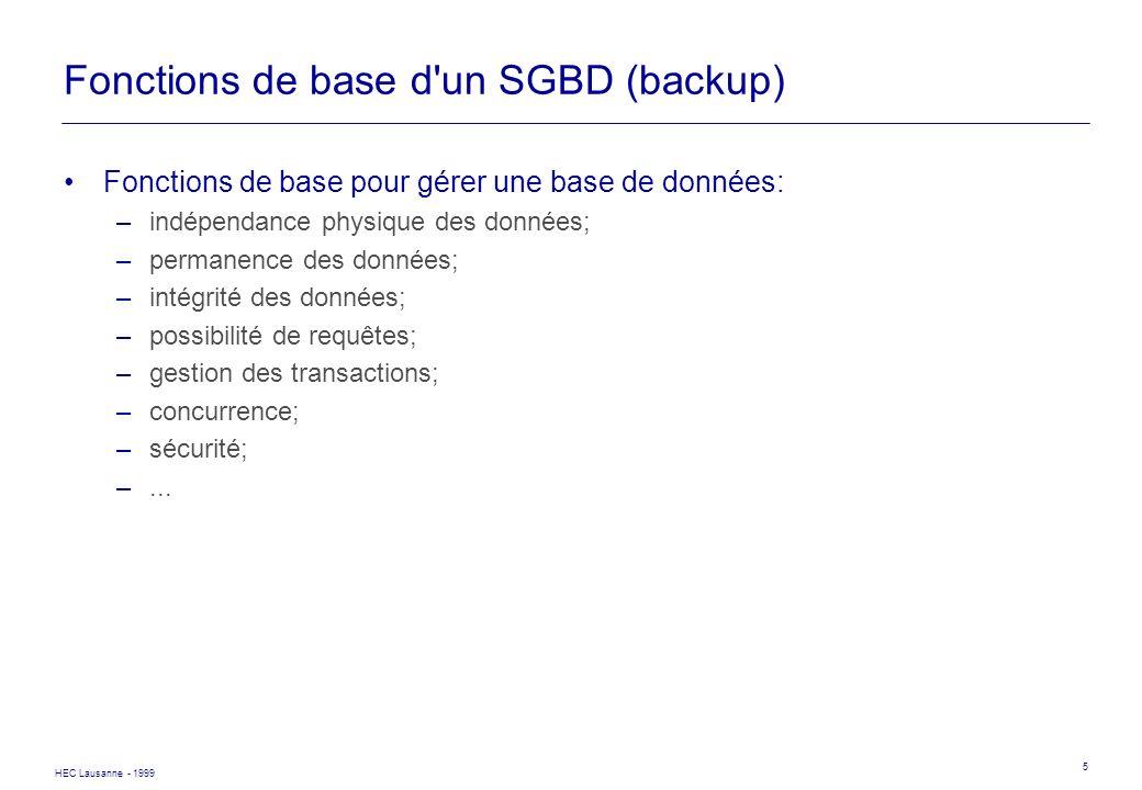 HEC Lausanne - 1999 5 Fonctions de base d'un SGBD (backup) Fonctions de base pour gérer une base de données: –indépendance physique des données; –perm