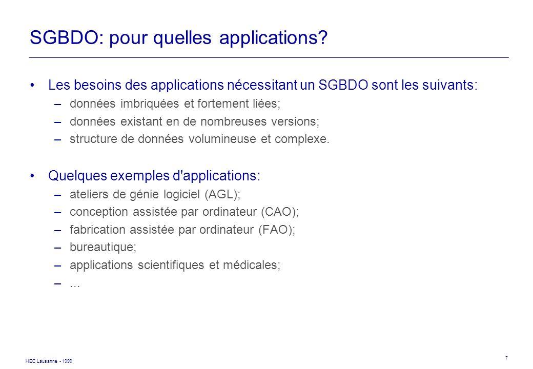 HEC Lausanne - 1999 7 SGBDO: pour quelles applications? Les besoins des applications nécessitant un SGBDO sont les suivants: –données imbriquées et fo