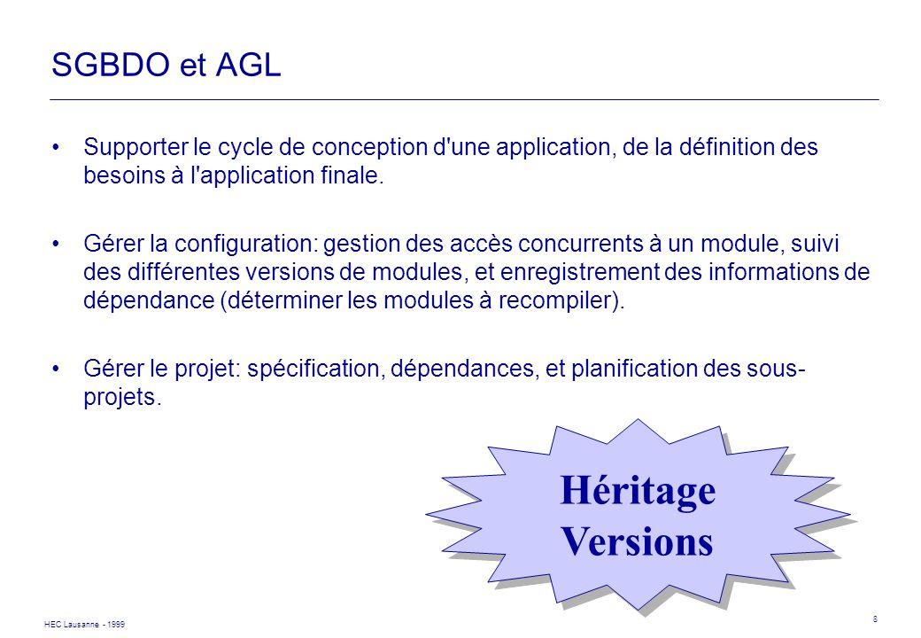 HEC Lausanne - 1999 8 SGBDO et AGL Supporter le cycle de conception d'une application, de la définition des besoins à l'application finale. Gérer la c