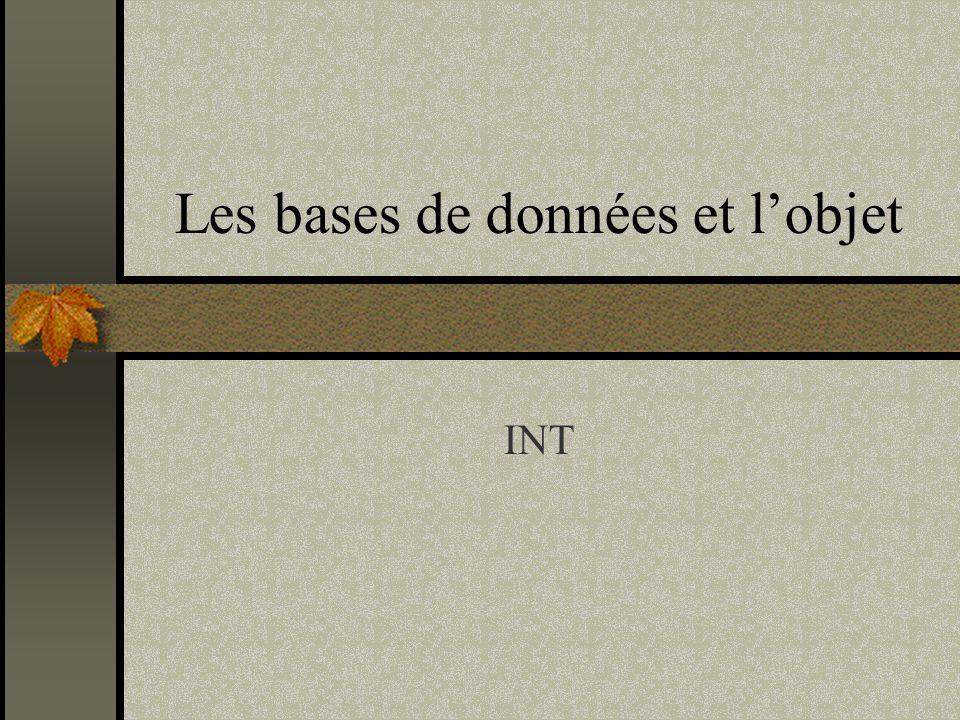 22 Bases de Données Les manifestos Codd, 1969 Modèle relationnel Codd, 1990 Modèle relationnel V2 Atkinson et al.