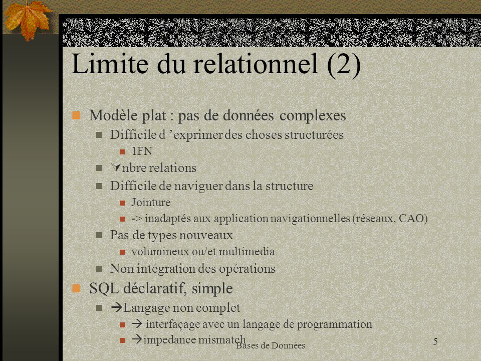 16 Bases de Données Limites de la technologie objet dans les bases de données Manque de théorie dans la conception d un schéma.