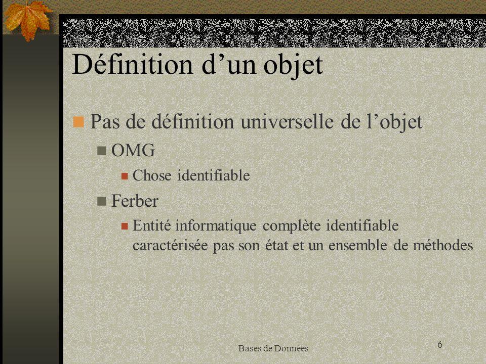 7 Bases de Données Définition d un objet (2) Associe traitements (méthodes) et données dans une même entité.