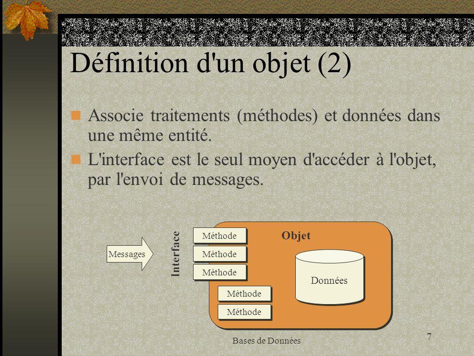 28 Bases de Données Oracle8 et l objet-relationnel Oracle 8 est le premier serveur objet-relationnel d Oracle Un des objetifs d Oracle est de disposer de produits permettant le développement du commerce électronique basé sur un mécanisme transactionnel L architecture d Oracle est un montage trois tiers Le client (navigateur Internet) Le serveur applicatif (exécutable) Le serveur de base de données Oracle ne met pas encore en oeuvre le mécanisme d héritage dans la version 8.0.x
