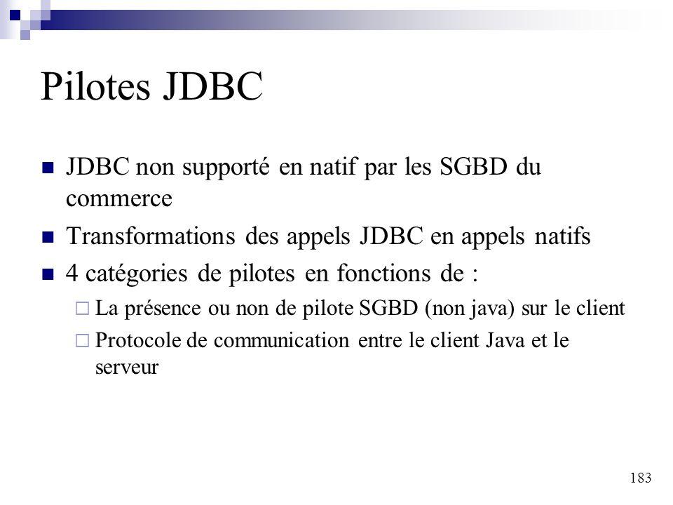 183 Pilotes JDBC JDBC non supporté en natif par les SGBD du commerce Transformations des appels JDBC en appels natifs 4 catégories de pilotes en fonctions de : La présence ou non de pilote SGBD (non java) sur le client Protocole de communication entre le client Java et le serveur