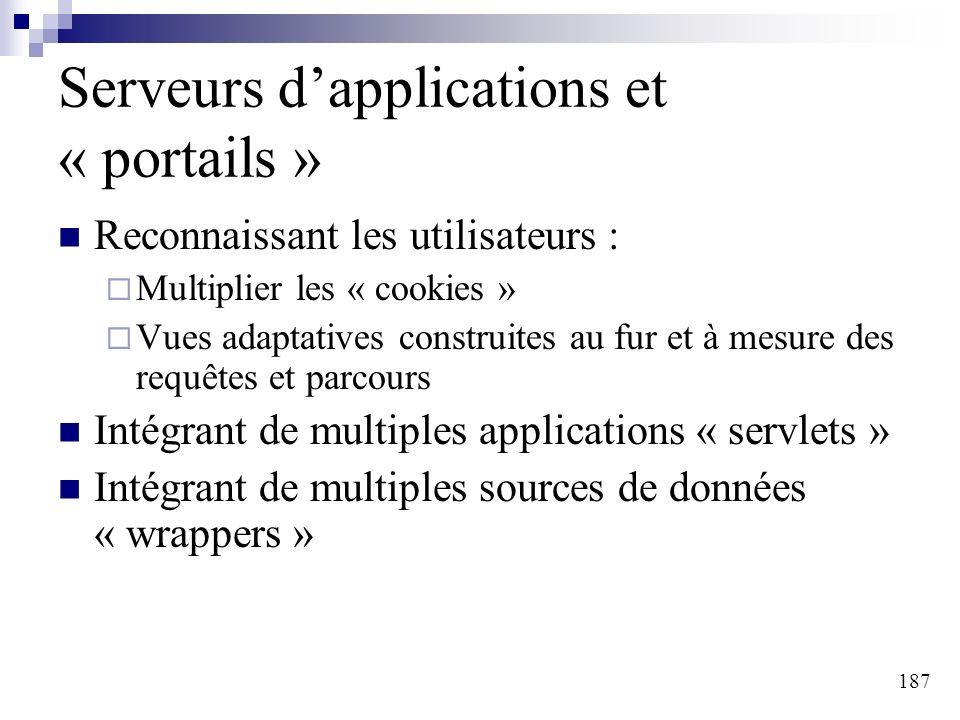 187 Serveurs dapplications et « portails » Reconnaissant les utilisateurs : Multiplier les « cookies » Vues adaptatives construites au fur et à mesure
