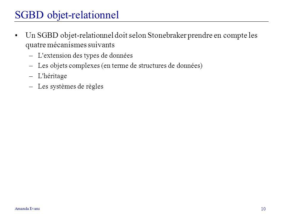 Amanda Evans 10 SGBD objet-relationnel Un SGBD objet-relationnel doit selon Stonebraker prendre en compte les quatre mécanismes suivants –L'extension