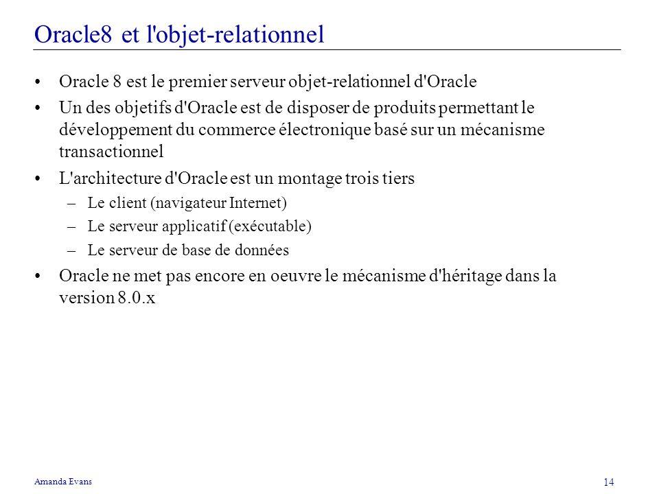 Amanda Evans 14 Oracle8 et l'objet-relationnel Oracle 8 est le premier serveur objet-relationnel d'Oracle Un des objetifs d'Oracle est de disposer de