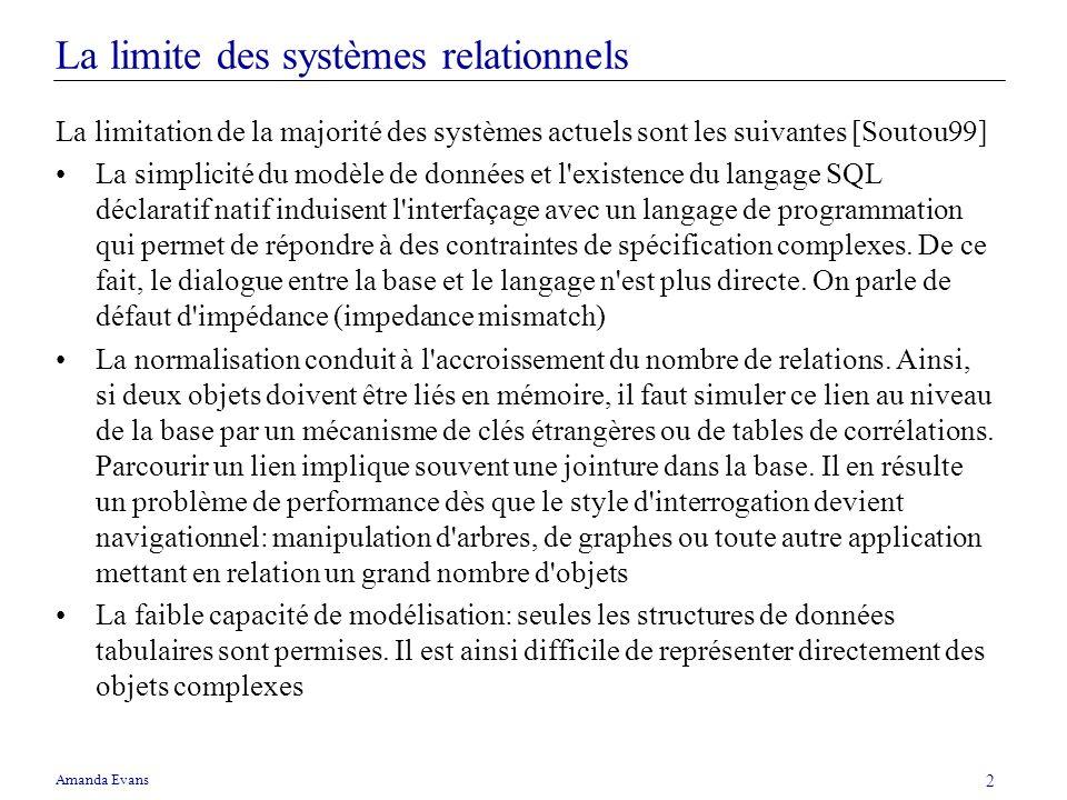 Amanda Evans 2 La limite des systèmes relationnels La limitation de la majorité des systèmes actuels sont les suivantes [Soutou99] La simplicité du mo