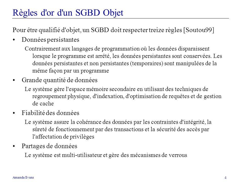 Amanda Evans 4 Règles d'or d'un SGBD Objet Pour être qualifié d'objet, un SGBD doit respecter treize règles [Soutou99] Données persistantes Contrairem