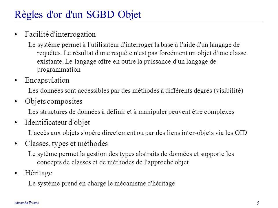 Amanda Evans 5 Règles d'or d'un SGBD Objet Facilité d'interrogation Le système permet à l'utilisateur d'interroger la base à l'aide d'un langage de re