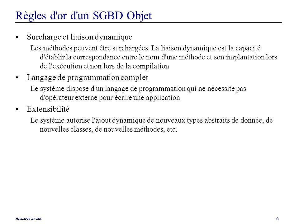Amanda Evans 6 Règles d'or d'un SGBD Objet Surcharge et liaison dynamique Les méthodes peuvent être surchargées. La liaison dynamique est la capacité
