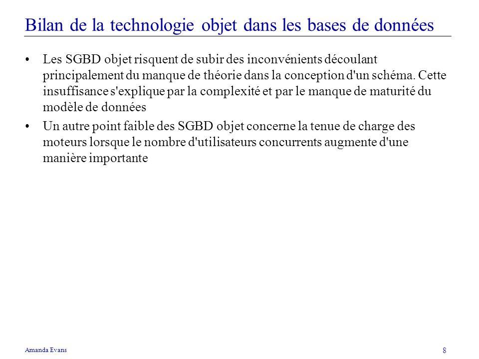 Amanda Evans 8 Bilan de la technologie objet dans les bases de données Les SGBD objet risquent de subir des inconvénients découlant principalement du