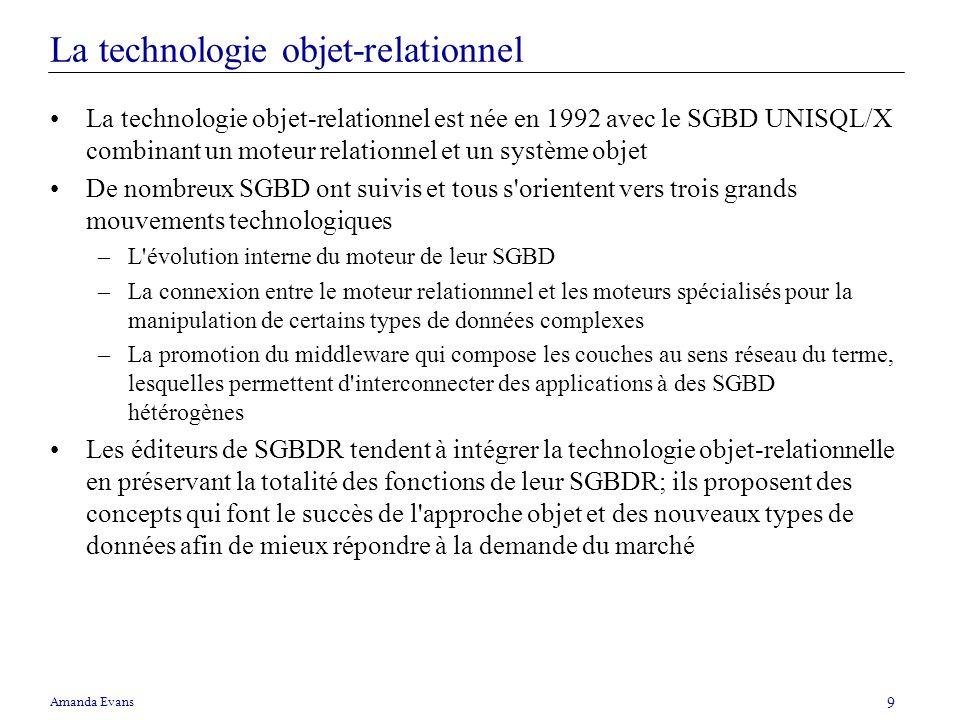 Amanda Evans 9 La technologie objet-relationnel La technologie objet-relationnel est née en 1992 avec le SGBD UNISQL/X combinant un moteur relationnel