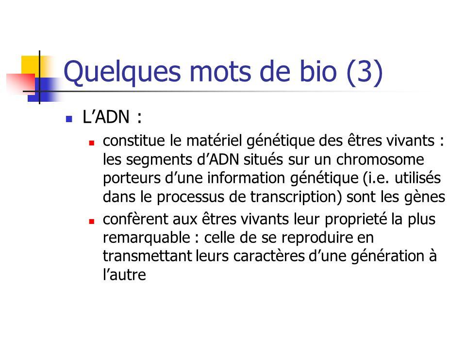 Ordres de grandeur Arabidopsis Thaliana : ADN : ~ 100 millions de nucléotides Gènes : ~ 25000 Protéines : ~ 30000 à 50000 Portion de lADN codant : ~ 5 % Homo sapiens : ADN : ~ 3,4 milliards de nucléotides Gènes : ~ 25000 à 30000 Protéines : ~ 30000 à 50000 Portion de lADN codant : ~ 5 %