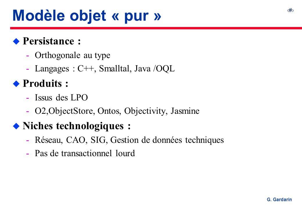 11 EQUINOXE Communications G. Gardarin Modèle objet « pur » u Persistance : Orthogonale au type Langages : C++, Smalltal, Java /OQL u Produits : Is