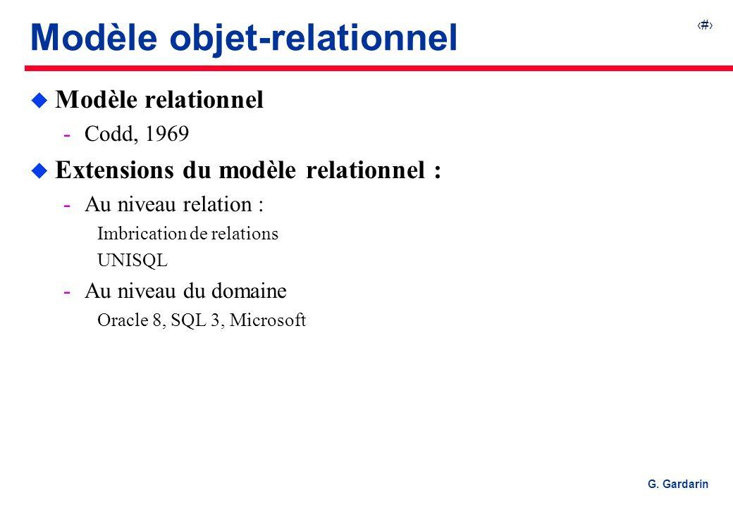 12 EQUINOXE Communications G. Gardarin Modèle objet-relationnel u Modèle relationnel Codd, 1969 u Extensions du modèle relationnel : Au niveau relat