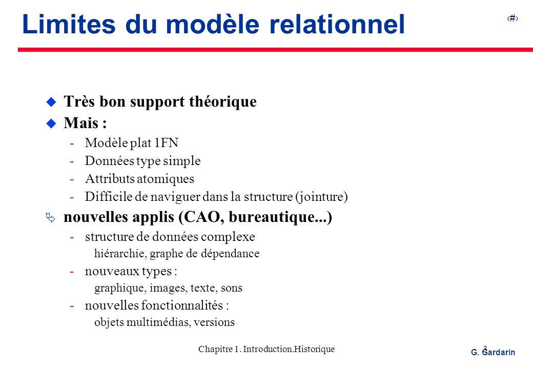 3 EQUINOXE Communications G. Gardarin Chapitre 1. Introduction.Historique3 Limites du modèle relationnel u Très bon support théorique u Mais : Modèle