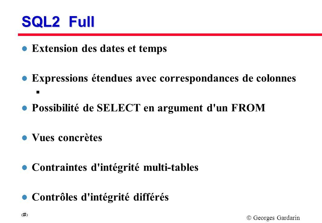 Georges Gardarin 23 SQL2 Full l Extension des dates et temps l Expressions étendues avec correspondances de colonnes l Possibilité de SELECT en argument d un FROM l Vues concrètes l Contraintes d intégrité multi-tables l Contrôles d intégrité différés