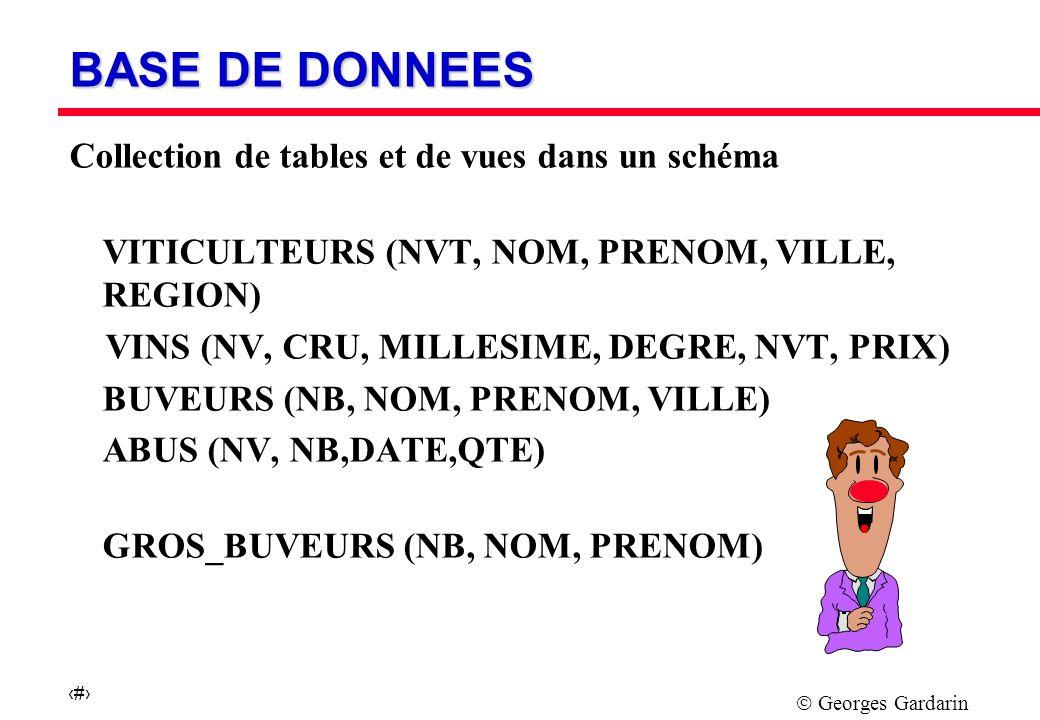 Georges Gardarin 6 BASE DE DONNEES Collection de tables et de vues dans un schéma VITICULTEURS (NVT, NOM, PRENOM, VILLE, REGION) VINS (NV, CRU, MILLESIME, DEGRE, NVT, PRIX) BUVEURS (NB, NOM, PRENOM, VILLE) ABUS (NV, NB,DATE,QTE) GROS_BUVEURS (NB, NOM, PRENOM)