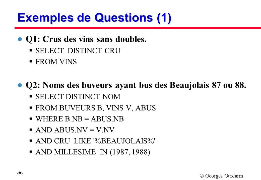 Georges Gardarin 7 Exemples de Questions (1) l Q1: Crus des vins sans doubles.