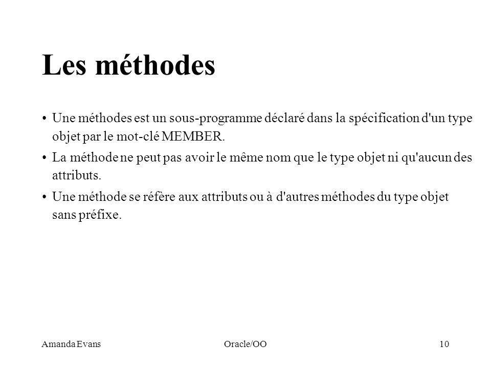 Amanda EvansOracle/OO10 Les méthodes Une méthodes est un sous-programme déclaré dans la spécification d'un type objet par le mot-clé MEMBER. La méthod