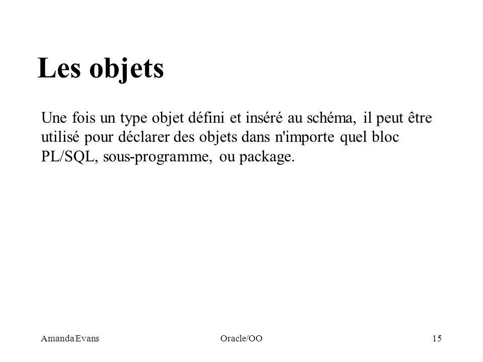 Amanda EvansOracle/OO15 Les objets Une fois un type objet défini et inséré au schéma, il peut être utilisé pour déclarer des objets dans n'importe que