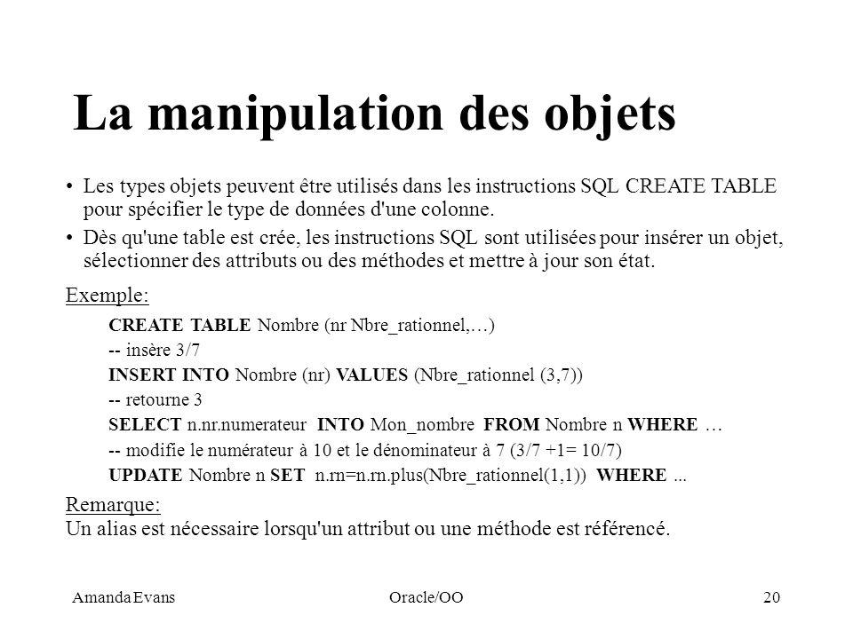 Amanda EvansOracle/OO20 La manipulation des objets Les types objets peuvent être utilisés dans les instructions SQL CREATE TABLE pour spécifier le typ