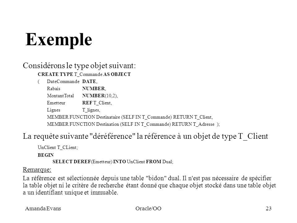 Amanda EvansOracle/OO23 Exemple Considérons le type objet suivant: CREATE TYPE T_Commande AS OBJECT ( DateCommandeDATE, RabaisNUMBER, MontantTotalNUMB