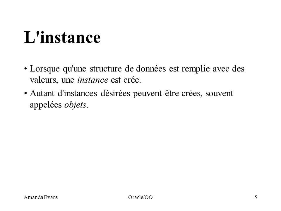 Amanda EvansOracle/OO5 L'instance Lorsque qu'une structure de données est remplie avec des valeurs, une instance est crée. Autant d'instances désirées