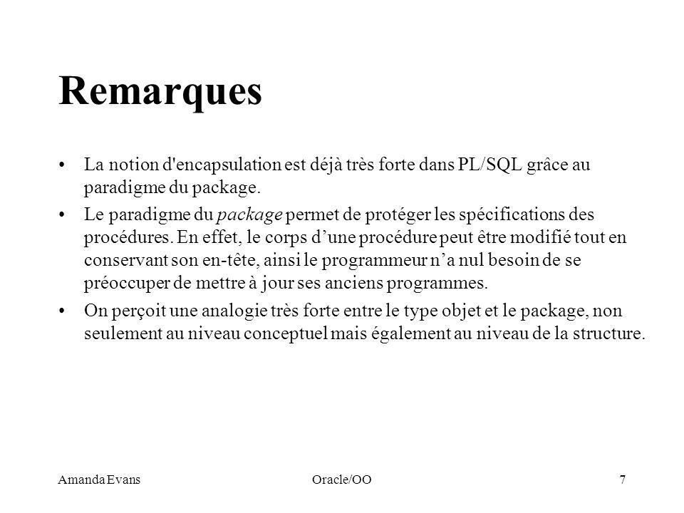 Amanda EvansOracle/OO7 Remarques La notion d'encapsulation est déjà très forte dans PL/SQL grâce au paradigme du package. Le paradigme du package perm