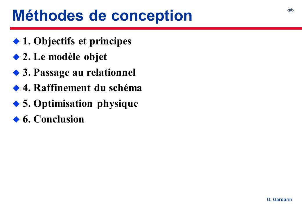 1 G. Gardarin Méthodes de conception u 1. Objectifs et principes u 2. Le modèle objet u 3. Passage au relationnel u 4. Raffinement du schéma u 5. Opti