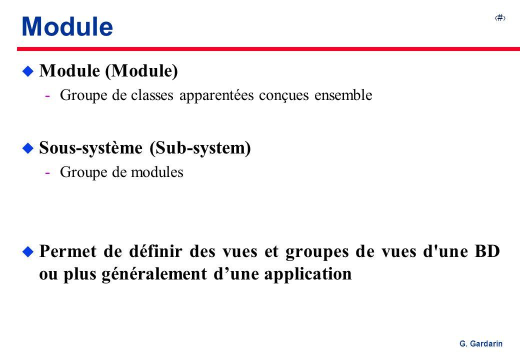15 G. Gardarin Module u Module (Module) Groupe de classes apparentées conçues ensemble u Sous-système (Sub-system) Groupe de modules u Permet de déf