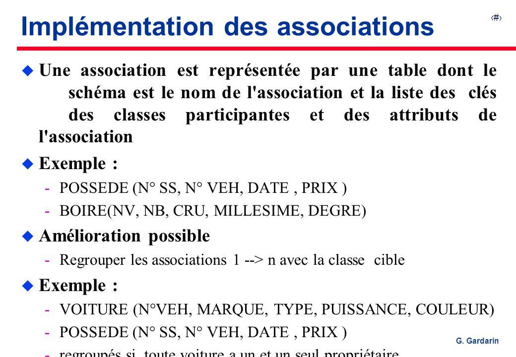 19 G. Gardarin Implémentation des associations u Une association est représentée par une table dont le schéma est le nom de l'association et la liste