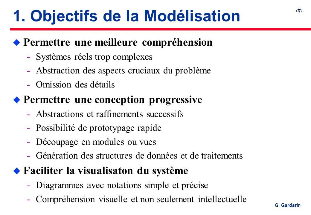 2 G. Gardarin 1. Objectifs de la Modélisation u Permettre une meilleure compréhension Systèmes réels trop complexes Abstraction des aspects cruciaux
