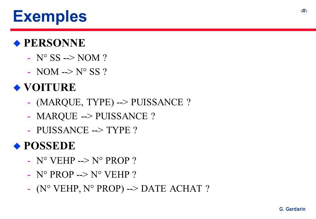 24 G. Gardarin Exemples u PERSONNE N° SS --> NOM ? NOM --> N° SS ? u VOITURE (MARQUE, TYPE) --> PUISSANCE ? MARQUE --> PUISSANCE ? PUISSANCE -->