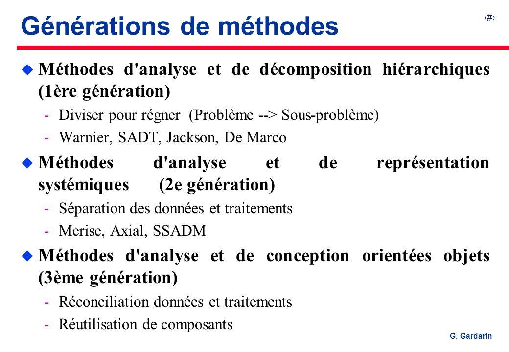 3 G. Gardarin Générations de méthodes u Méthodes d'analyse et de décomposition hiérarchiques (1ère génération) Diviser pour régner (Problème --> Sous