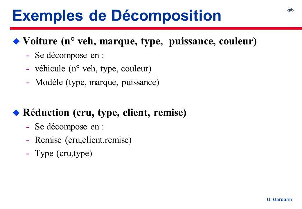 34 G. Gardarin Exemples de Décomposition u Voiture (n° veh, marque, type, puissance, couleur) Se décompose en : véhicule (n° veh, type, couleur) Mo