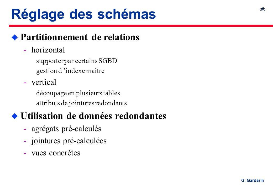 37 G. Gardarin Réglage des schémas u Partitionnement de relations horizontal supporter par certains SGBD gestion d indexe maître vertical découpage