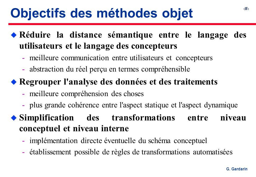 4 G. Gardarin Objectifs des méthodes objet u Réduire la distance sémantique entre le langage des utilisateurs et le langage des concepteurs meilleure