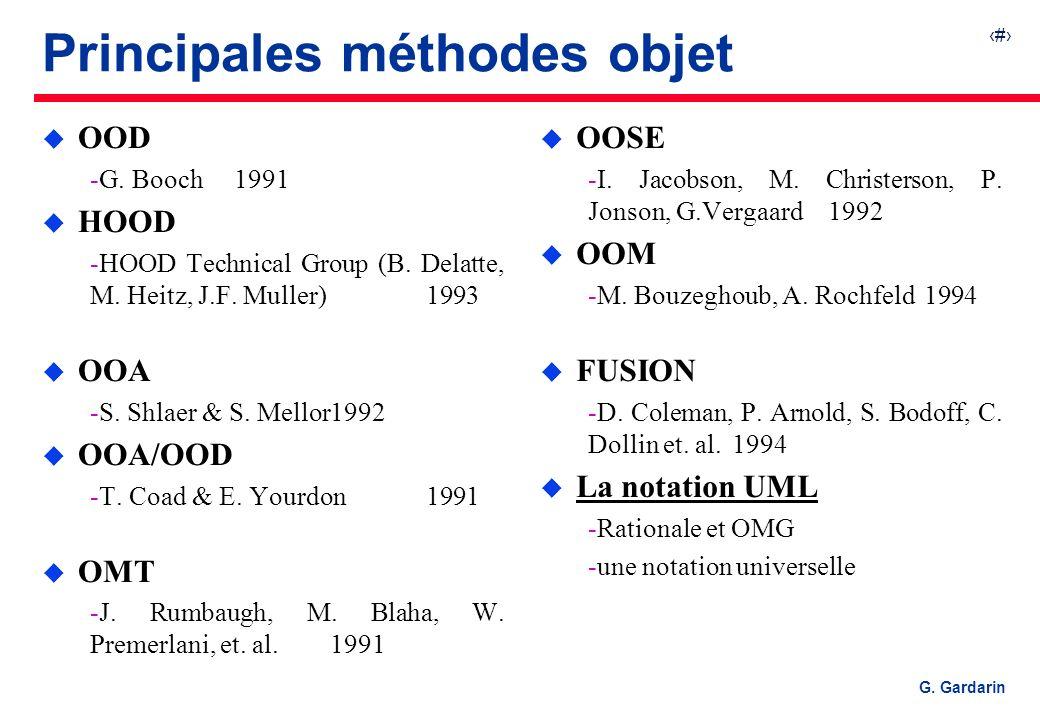 5 G. Gardarin Principales méthodes objet u OOD G. Booch1991 u HOOD HOOD Technical Group (B. Delatte, M. Heitz, J.F. Muller) 1993 u OOA S. Shlaer &