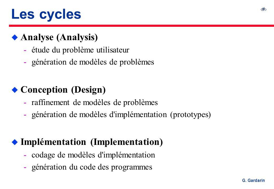 7 G. Gardarin Les cycles u Analyse (Analysis) étude du problème utilisateur génération de modèles de problèmes u Conception (Design) raffinement de