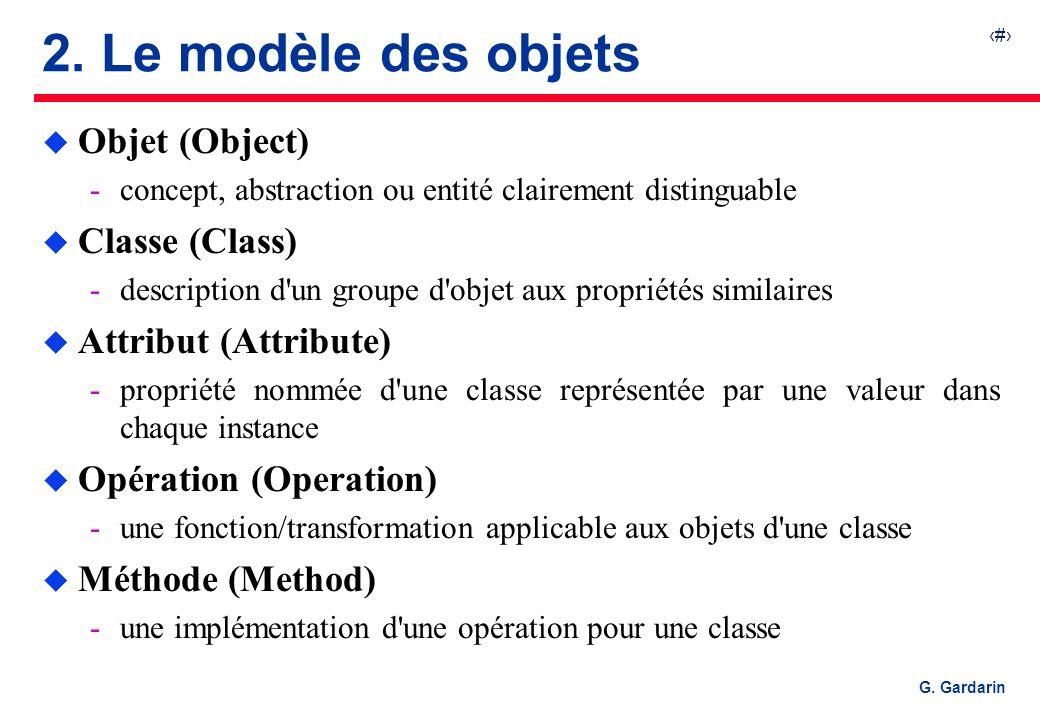 8 G. Gardarin 2. Le modèle des objets u Objet (Object) concept, abstraction ou entité clairement distinguable u Classe (Class) description d'un grou