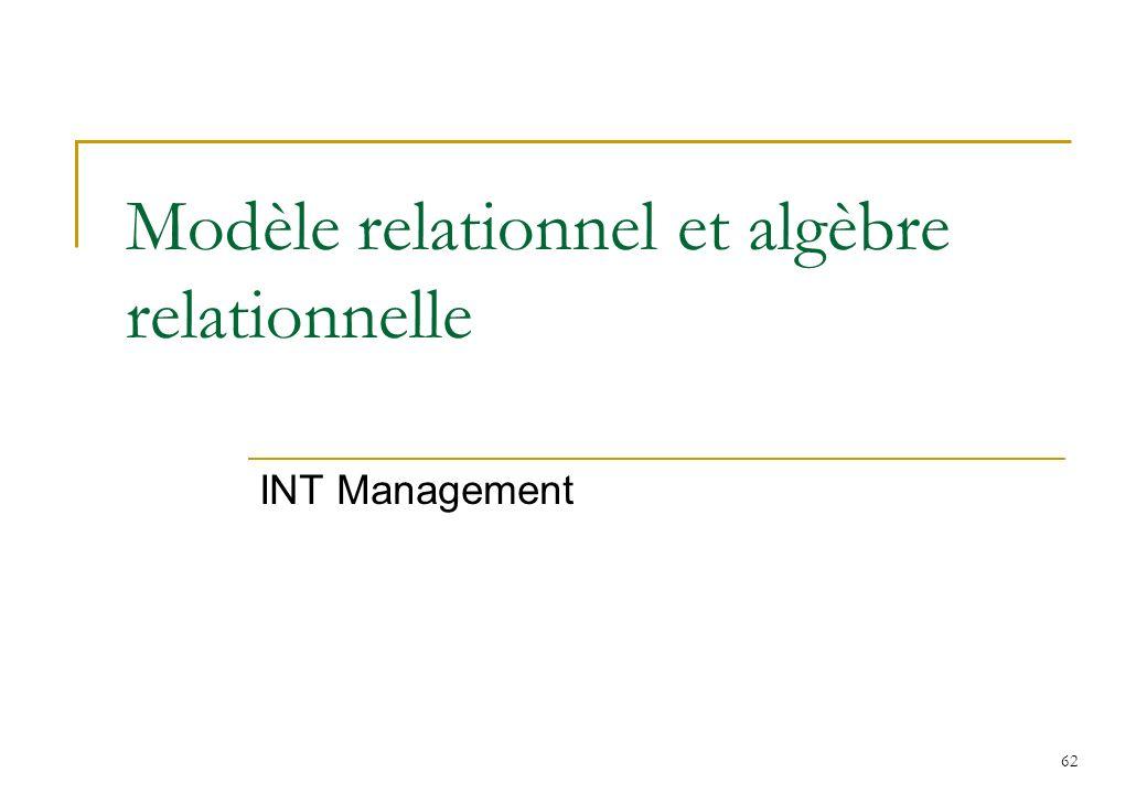 62 Modèle relationnel et algèbre relationnelle INT Management