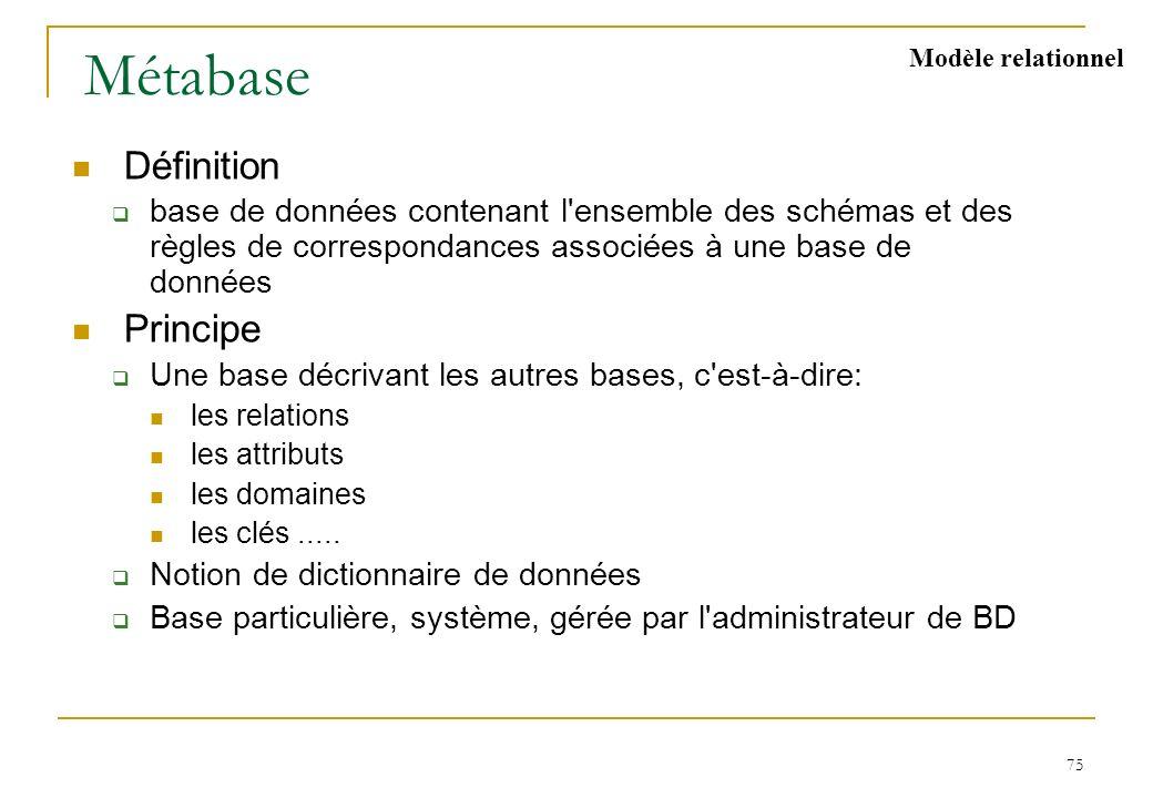 75 Métabase Définition base de données contenant l'ensemble des schémas et des règles de correspondances associées à une base de données Principe Une
