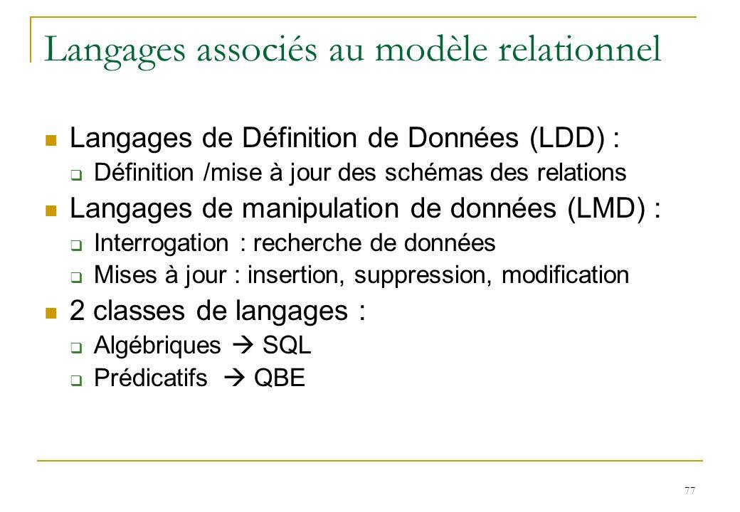 77 Langages associés au modèle relationnel Langages de Définition de Données (LDD) : Définition /mise à jour des schémas des relations Langages de man