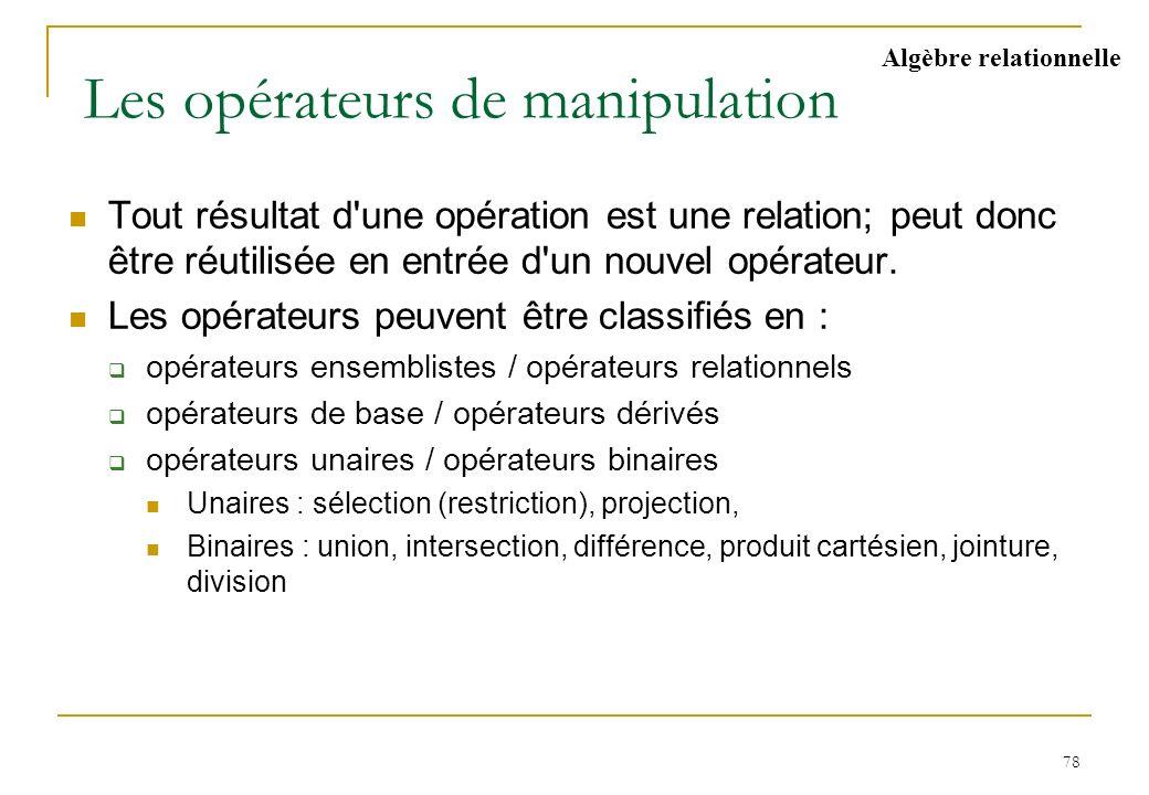 78 Les opérateurs de manipulation Tout résultat d'une opération est une relation; peut donc être réutilisée en entrée d'un nouvel opérateur. Les opéra