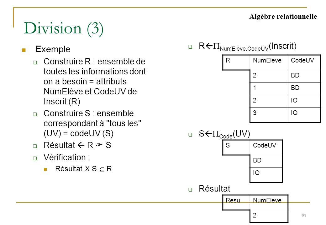 91 Division (3) Exemple Construire R : ensemble de toutes les informations dont on a besoin = attributs NumElève et CodeUV de Inscrit (R) Construire S